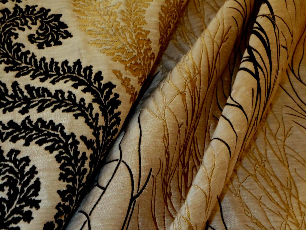 black and metallic gold upholstery embroidery coordinates