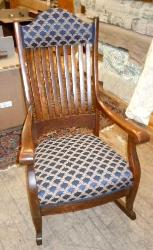 Antique Rocker upholstered in Floral Vine Geometric Fabric Pattern Showcase Color Navy