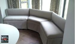 Bay window banquette, frame custom built by Schindlers