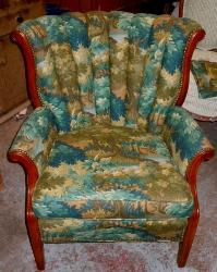 Chair upholstery in Robert Allen Linen Blend Pattern Scenic Flora Color Tapestry Fabric