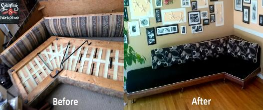 ustom restoration 1960's sofa starting with only a frame - in time for clients' Mad Men Party!
