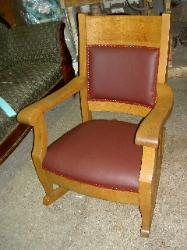 Finished Donated Antique Rocker Upholstered in Burgundy Leather