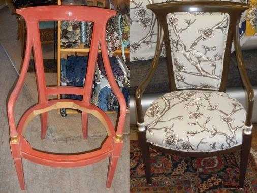 This chair was abandoned on our outlet store doorstep (no basket and no note), now madeover with DwellStudio Robert Allen's Vintage Blossom in color Dove