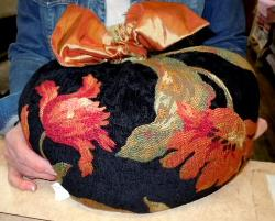 Inventive Customer's Halloween Pumpkin craft project in Cleoprata in Black Chenille Floral Upholstery Fabric