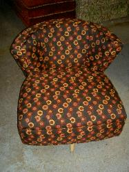 Swivel Chair upholstered in Swavelle Mill Creek 45 RPM Color Havana Upholstery Fabric