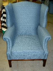 Wing Chair Reupholstery/Restoration in American Silk Blue Upholstery Fabric