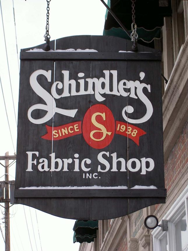 Schindler's Upholstery and  Fabric Shop sign, discount designer fabrics